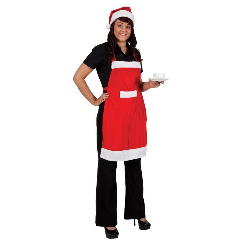 Adult Unisex Santa Apron & Hat Set Christmas Outfit - (Red,White)
