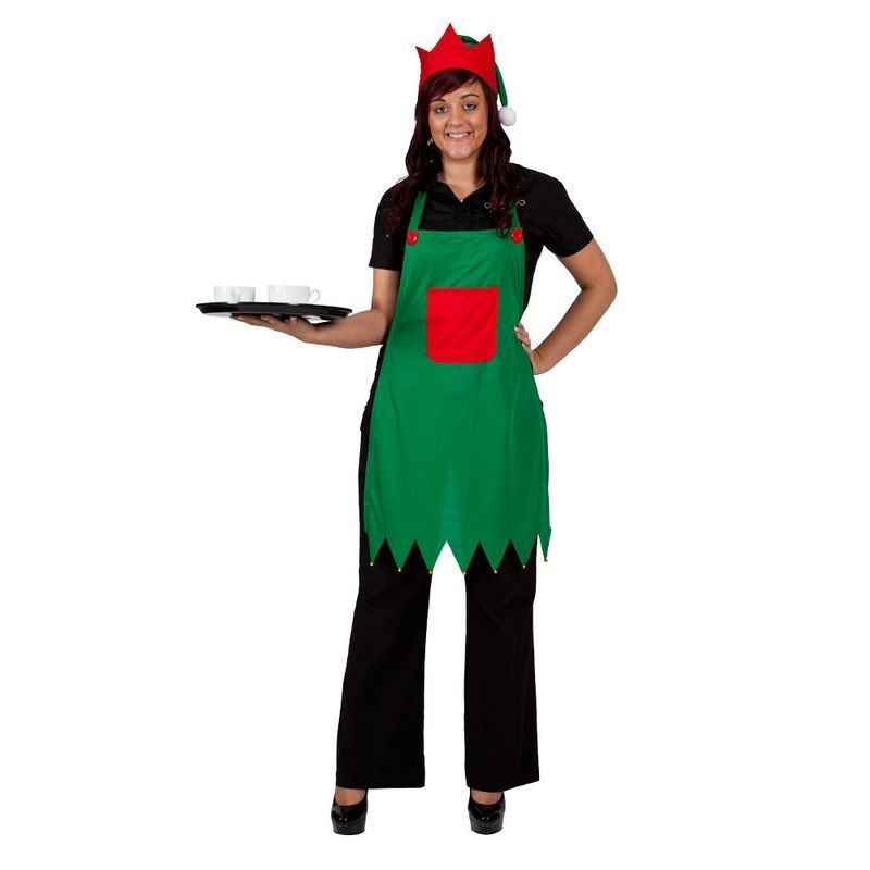 Adult Unisex Elf Apron & Hat Set Christmas Outfit - (Green, Red)