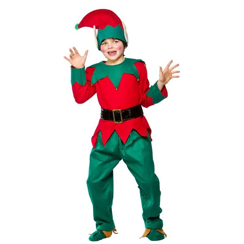 Boys Kids Deluxe Elf Suit Christmas Outfit - (Green, Red)