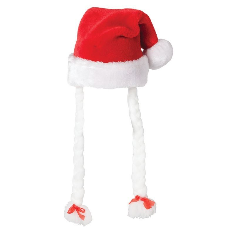 Ladies Deluxe Santa Hat With Pigtails Christmas Hats - (Red,White)