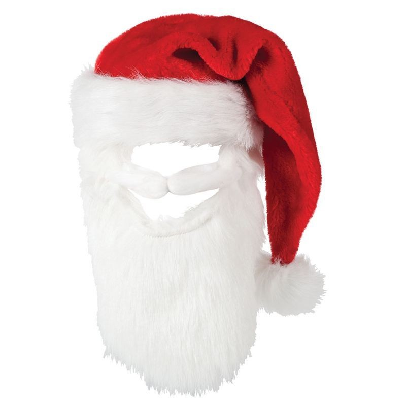 Mens Deluxe Santa Hat With Moustash & Beard Christmas Hats - (Red,White)
