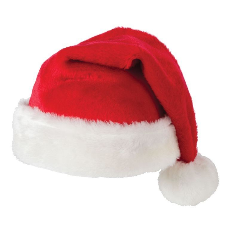 Adult Unisex Supr Deluxe Santa Hat Christmas Hats - (Red,White)