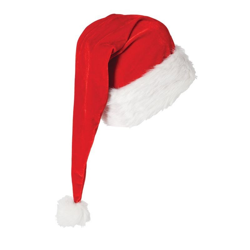 Adult Unisex Deluxe Extra Long Santa Hat Christmas Hats - (Red,White)