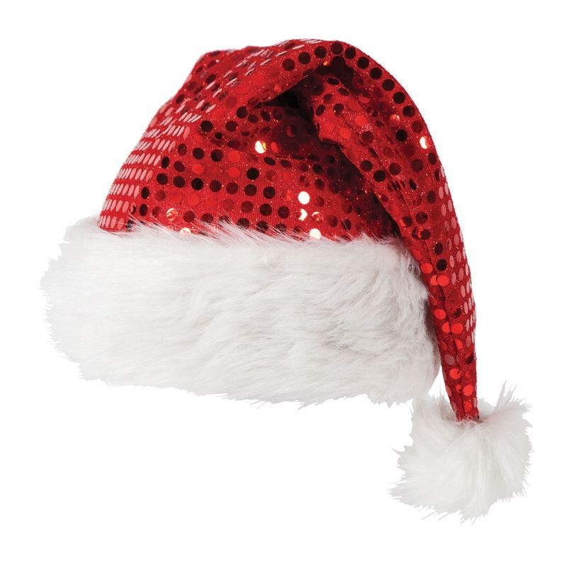 Adult Unisex Deluxe Sequin Santa Hat Christmas Hats - (Red,White)