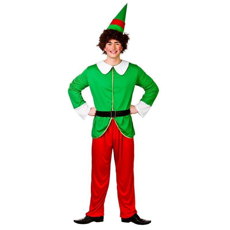 Mens Red/Green Funny Elf Guy/Santas Helper Christmas Fancy Dress Costume