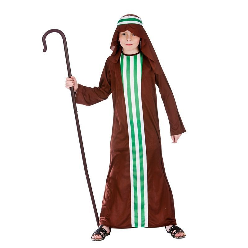 Childs Brown Shepheard Boy Nativity Christmas Fancy Dress Costume