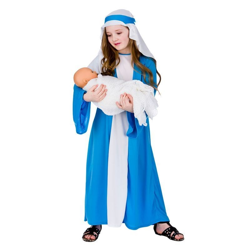 Childs Blue/White Mary Nativity Christmas Fancy Dress Costume