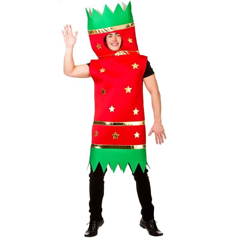 Christmas Fancy Dress.Adult Red Green Xmas Cracker Christmas Fancy Dress Costume