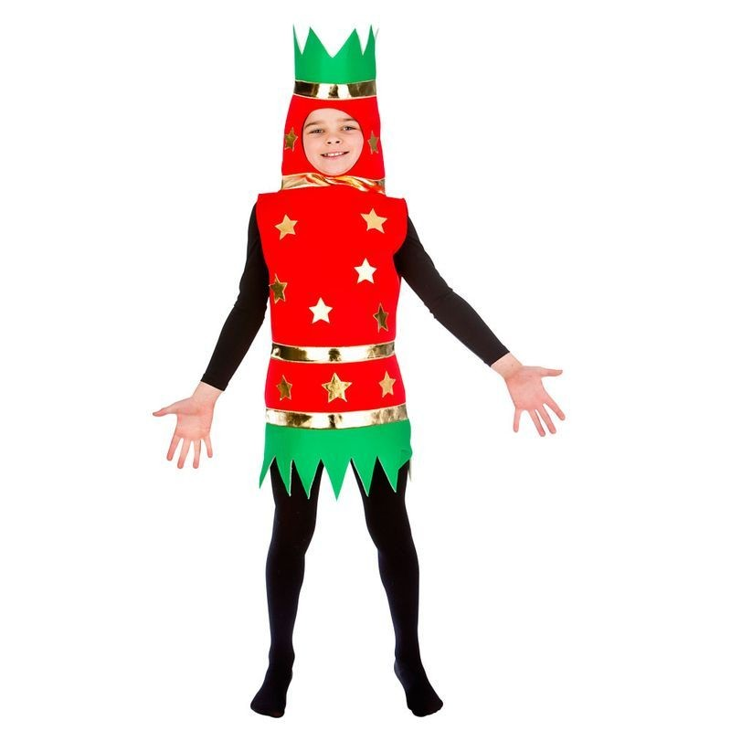 Childs Red/Green Xmas Cracker Fancy Dress Costume