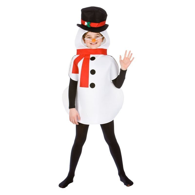 Childs White Snowman Christmass Fancy Dress Costume