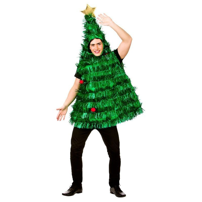 Adult Deluxe Tinsel Xmas Tree Christmas Fancy Dress Costume