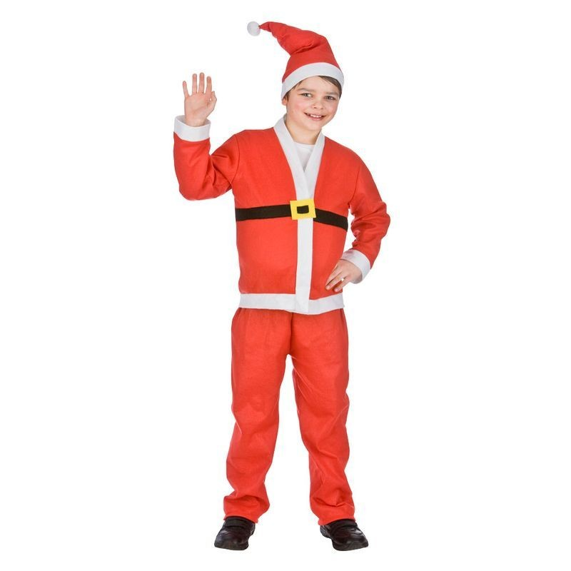 Boys Red/White Santa Suit Christmas Fancy Dress Costume