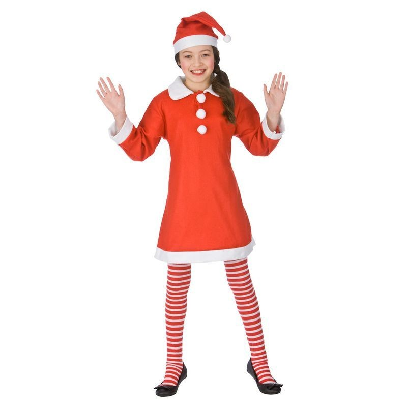 Girls Red/White Little Miss Santa Christmas Fancy Dress Costume