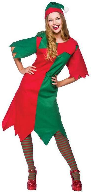 Ladies Budget Elf Christmas Fancy Dress Costume