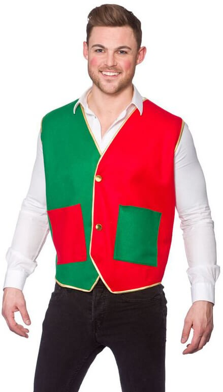 Mens Elf Christmas Waistcost Fancy Dress Accessory