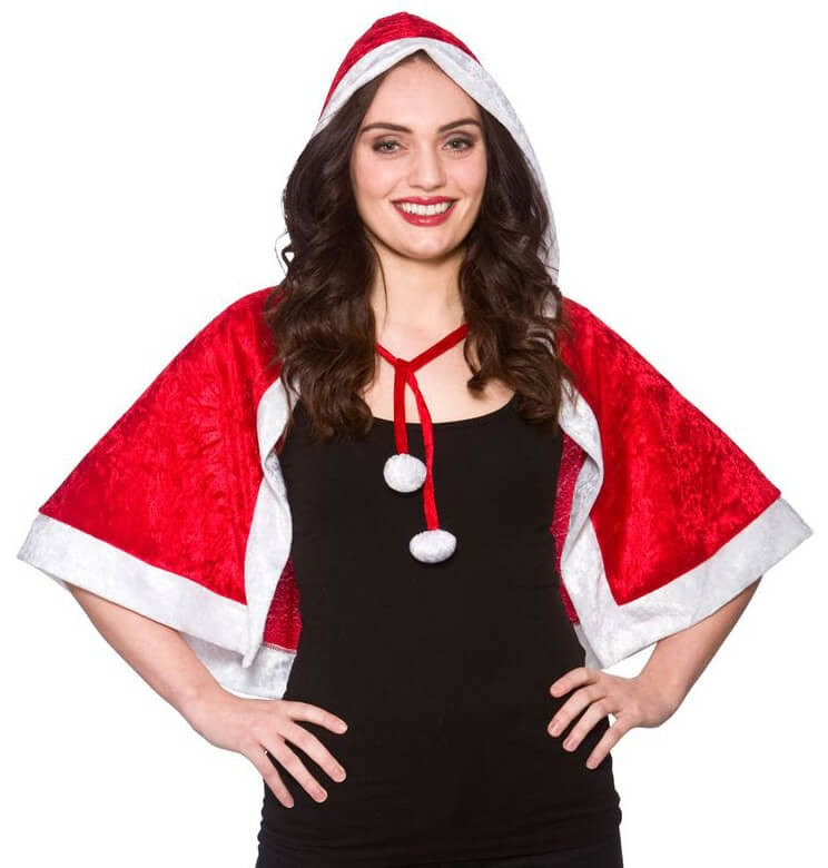 Ladies Santa Hooded Cape Christmas Fancy Dress Accessory