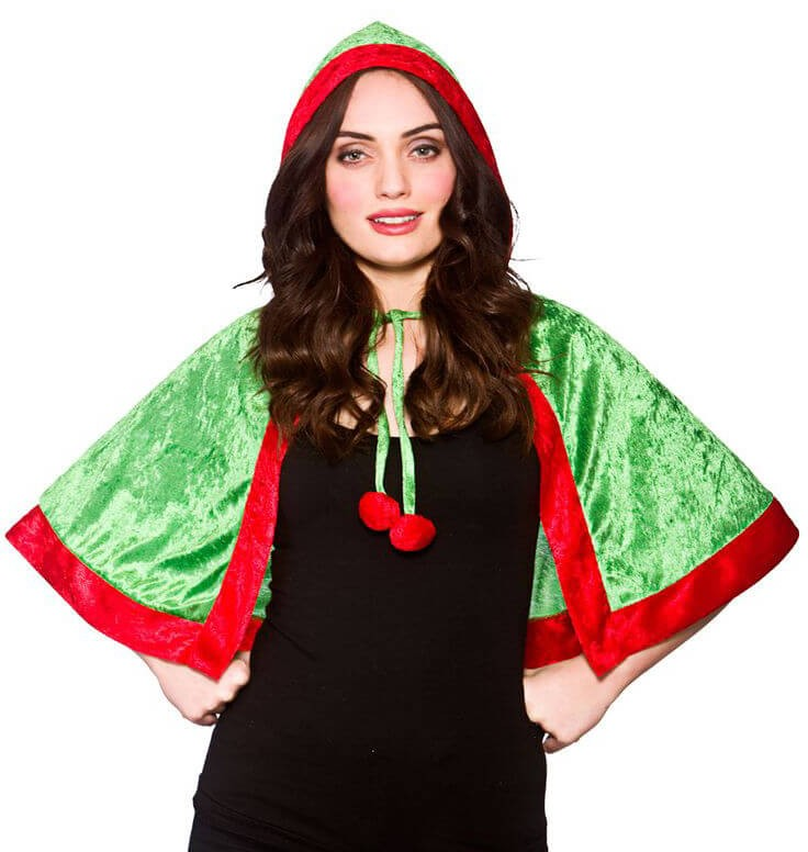 Ladies Elf Hooded Cape Christmas Fancy Dress Accessory