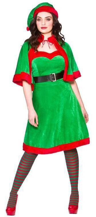 Ladies Cute Elf/Helper Christmas Fancy Dress Costume