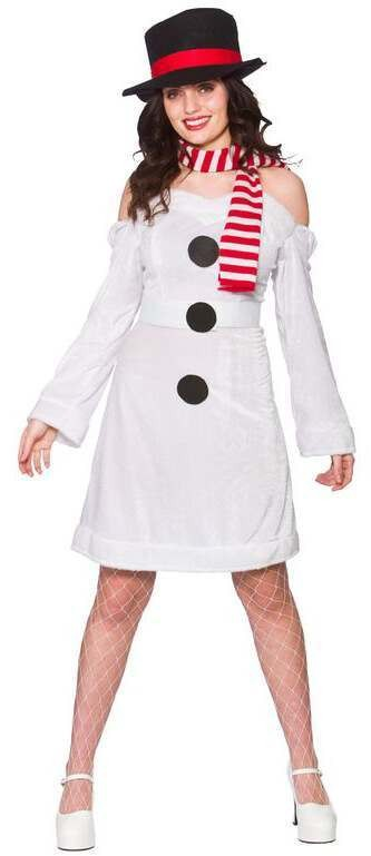 Ladies White One Size Sweet Snowman Christmas Fancy Dress Outfit