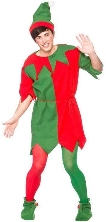 Mens Budget Elf/Helper Christmas Fancy Dress Costume