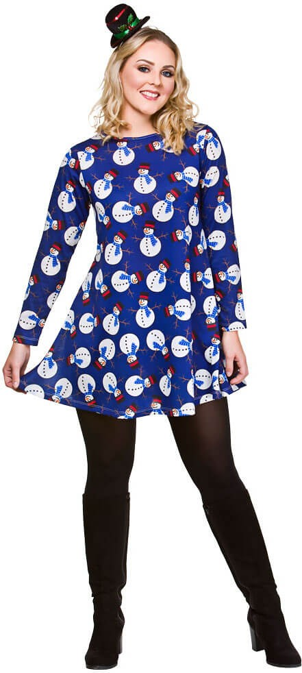 Ladies Blue Christmas Dress With Snowmen Fancy Dress Outfit