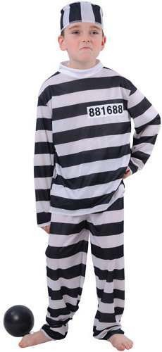 Boy'S Prison Break Convict Fancy Dress Costume