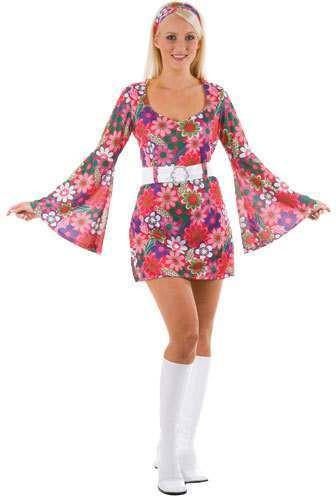 Ladies Retro Flower Power Hippy Go Go Girl Fancy Dress Costume