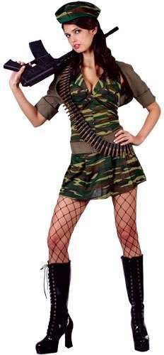 Private Tease Fancy Dress Costume Ladies (Army)
