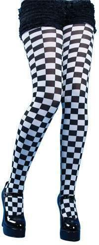 Black And White Checkered Tights - Fancy Dress Ladies