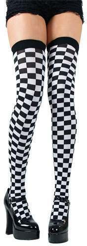 Checkered Thigh Highs / Black And White - Fancy Dress