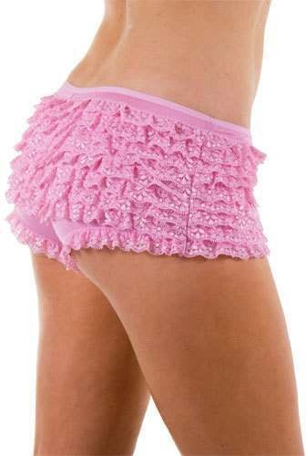 9 Layer Ruffle Shorts- Pink - Fancy Dress Ladies