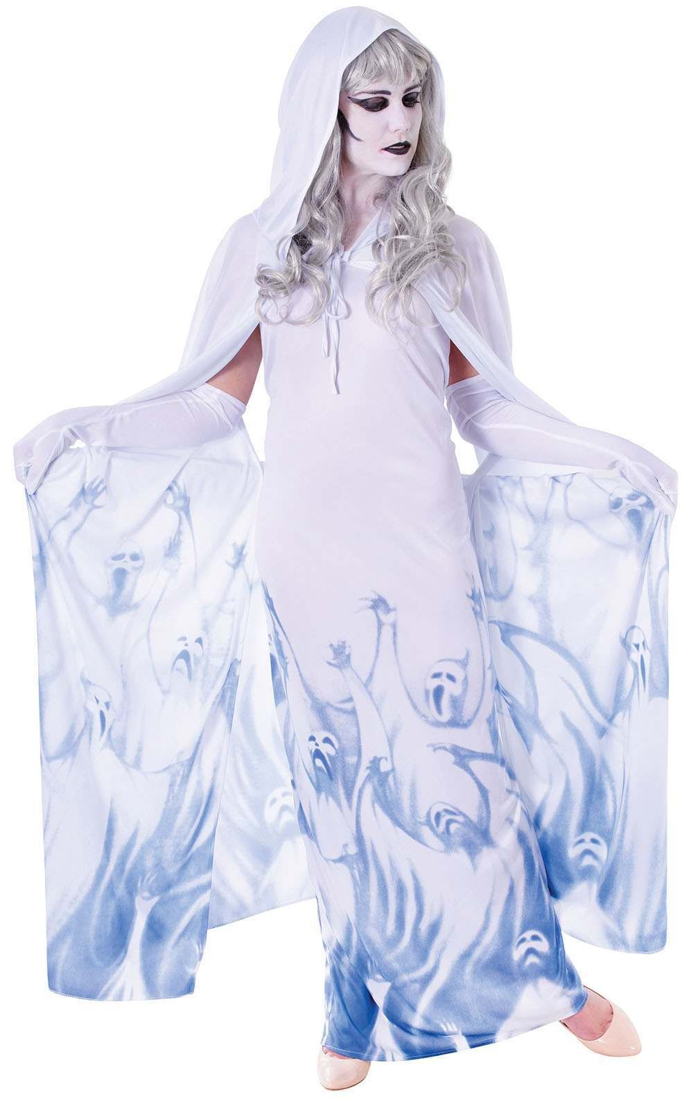 Ladies Ghost Soul Seeker. Female Halloween Outfit - One Size (White)