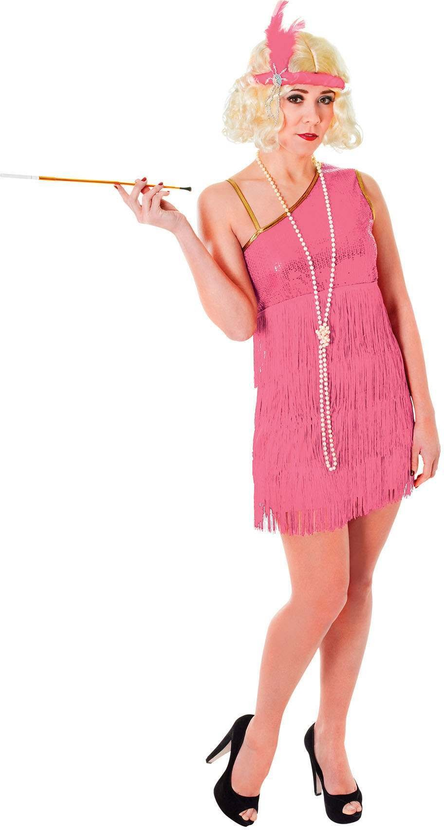 Flapper Dress. Pink Fancy Dress Costume