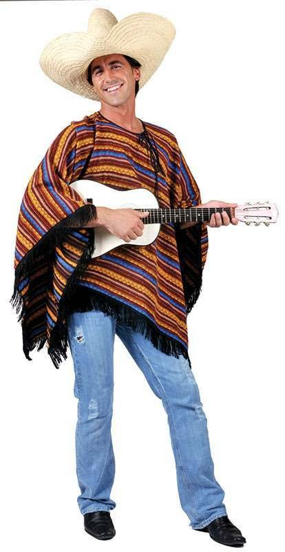 Mexican Poncho Stripey Ff (54) Fancy Dress Costume