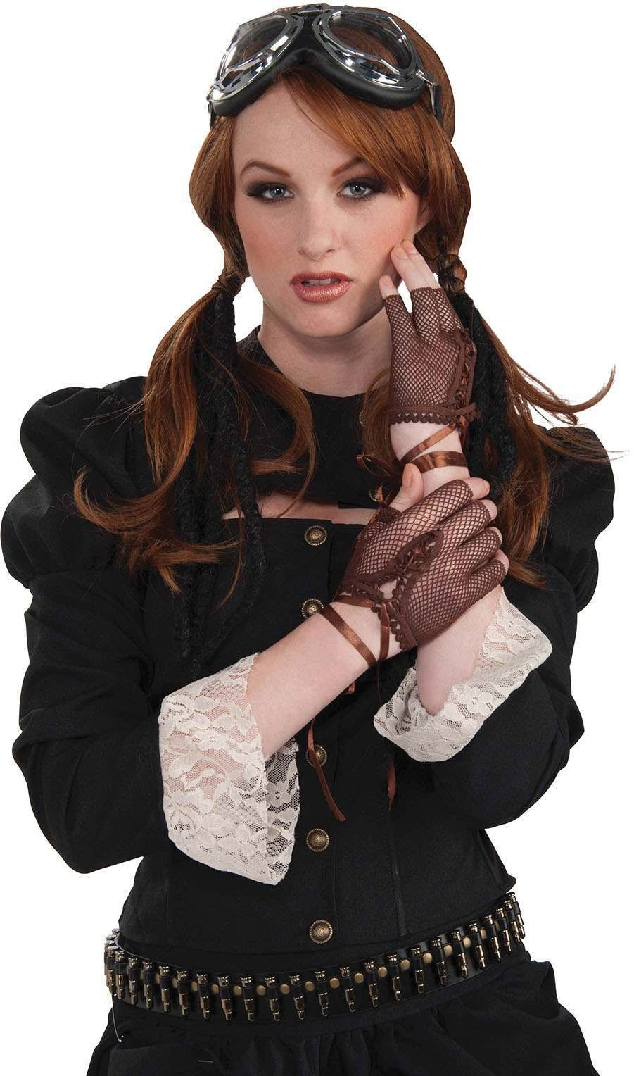 Steampunk Fingerless Gloves. Brown Accessories