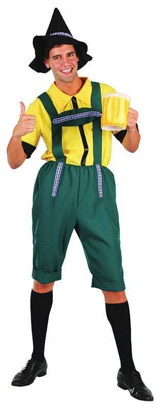 Mens Beer Man Bavarian Outfit - One Size (Green, Yellow)