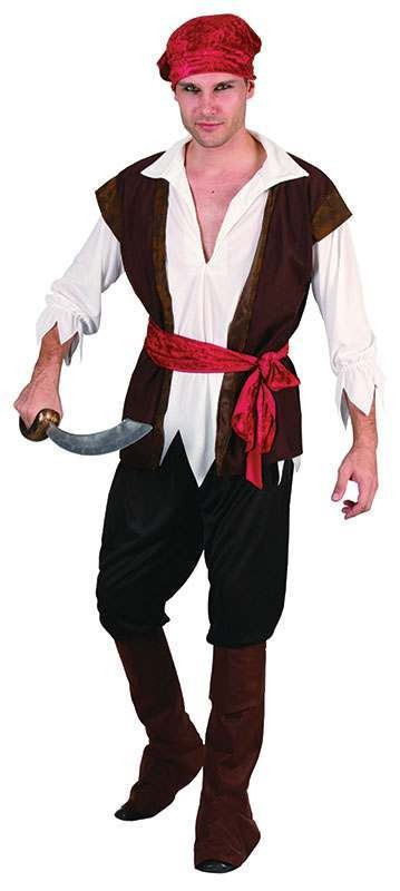 Mens Pirate Man (Brown Waistcoat) Pirates Outfit - One Size (Brown)