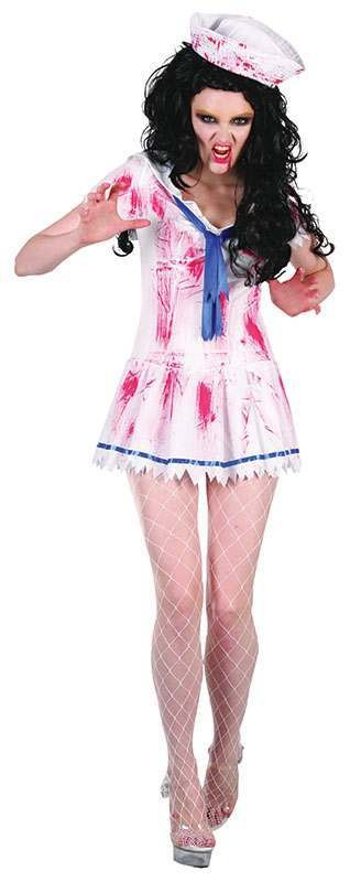 Ladies Zombie Sailor Girl Halloween Outfit - One Size (White)