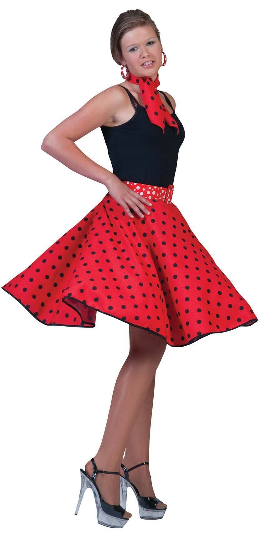 Ladies Red & Black Dot 50'S Style Rock 'N' Roll Dress Fancy Dress Costume.
