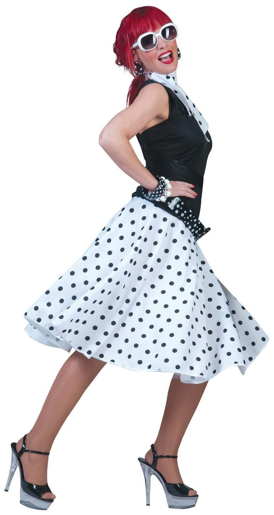 Ladies White 50'S Grease Style Rock 'N' Roll Skirt Fancy Dress Costume.