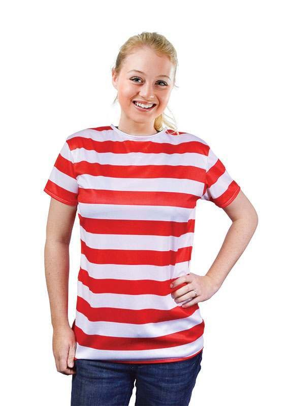 Striped Ladies Shirt. Red/White Costume