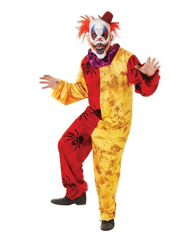 Mens Clown Costume. Horror Clowns Outfit - One Size (Red, Yellow)