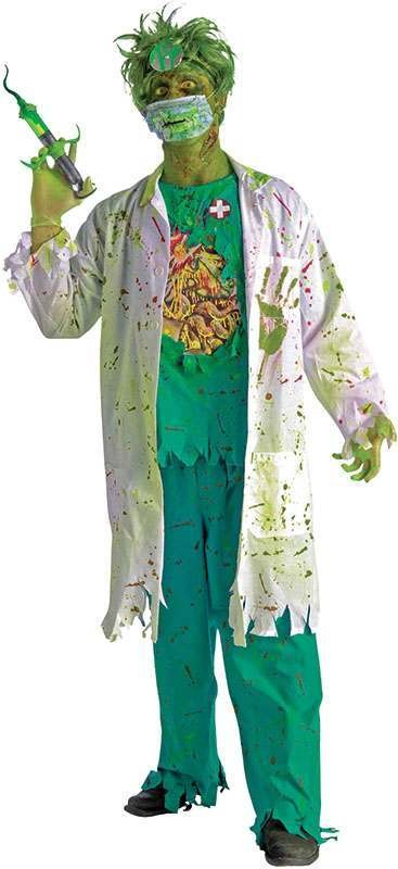 Mens Biohazard Zombie Surgeon Halloween Outfit - One Size (Green, White)