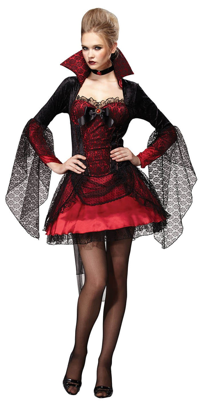 Ladies Dark Vampiress Mistress Halloween Fancy Dress Costume