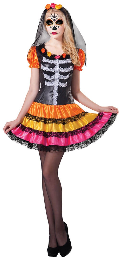 Ladies Day Of The Dead Rainbow Lady Halloween Fancy Dress Costume