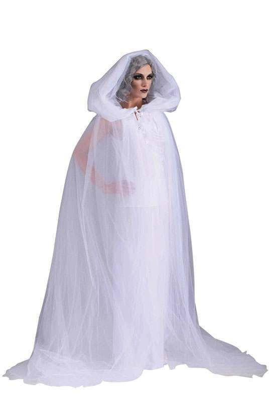 Ladies The Haunted Cape + Dress Halloween Outfit - One Size (White)