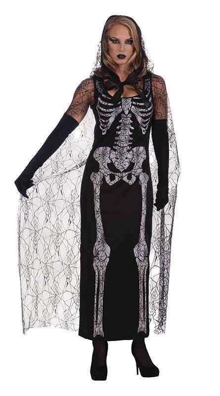 Ladies Graveyard Shift Skeleton Halloween Outfit - One Size (Black, White)
