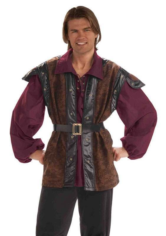 Mens Medieval Mercenary Medieval Outfit - One Size (Brown)