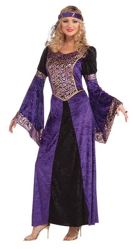 Ladies Medieval Maiden Medieval Outfit - One Size (Purple)