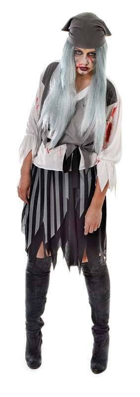 Mens Zombie Bloodypirate Lady Halloween Outfit - One Size (Grey)